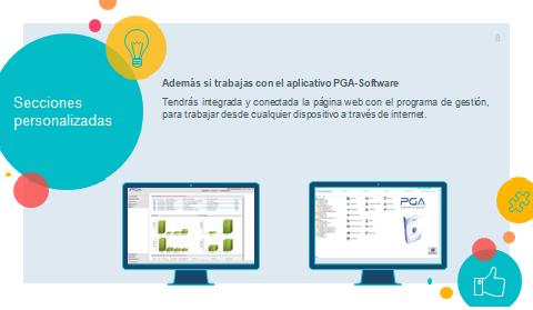 Además si trabajas con el aplicativo PGA-Siniestros, tendrás integrada y conectada la página web con el programa de gestión.